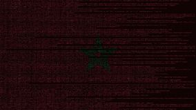 Code source et drapeau du Maroc Animation loopable relative marocaine de technologie numérique ou de programmation illustration de vecteur