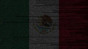 Code source et drapeau du Mexique Animation loopable relative mexicaine de technologie numérique ou de programmation illustration libre de droits