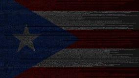 Code source et drapeau du Porto Rico Animation loopable relative de technologie numérique ou de programmation illustration libre de droits
