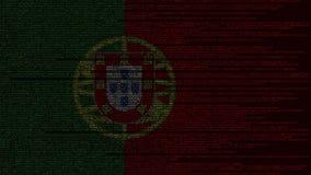 Code source et drapeau du Portugal Animation loopable relative portugaise de technologie numérique ou de programmation illustration stock