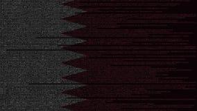 Code source et drapeau du Qatar Animation loopable relative qatarie de technologie numérique ou de programmation illustration stock