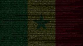 Code source et drapeau du Sénégal Animation loopable relative sénégalaise de technologie numérique ou de programmation illustration de vecteur