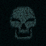 Code texture smiled skull. Programming code shows blue smiled hacker skull with red eyes on dark screen background. Computer was hacked vector illustration