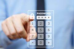 Code van de bedrijfsmensen de dringende veiligheid inzake virtueel toetsenbord stock foto