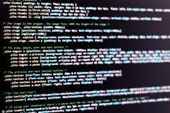Code. Of web page displayed on a computer monitor stock photos