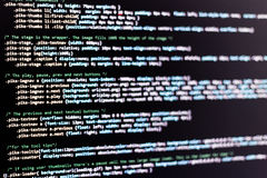 Code. Of web page displayed on a computer monitor royalty free stock photo