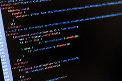 Code. Of web page displayed on a computer monitor royalty free stock photos