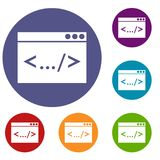 Code window icons set. In flat circle reb, blue and green color for web stock illustration