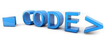 Code. Word Code 3D on white background Royalty Free Stock Image