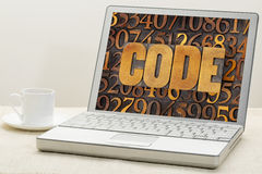 Code word on a laptop Royalty Free Stock Images