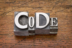 Code word in  metal type Royalty Free Stock Photo