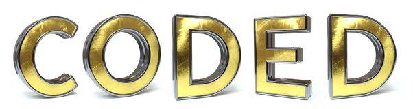 Coded golden text. Coded 3d rendered gold and silver color text on white Stock Photo