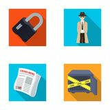 Coded lock, the appearance of the detective, a newspaper with criminal news, a hacked safe. Crime and detective set. Collection icons in flat style vector Royalty Free Stock Photography