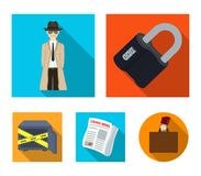 Coded lock, the appearance of the detective, a newspaper with criminal news, a hacked safe. Crime and detective set. Collection icons in flat style vector Stock Image
