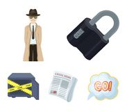 Coded lock, the appearance of the detective, a newspaper with criminal news, a hacked safe. Crime and detective set. Collection icons in cartoon style vector Stock Photos
