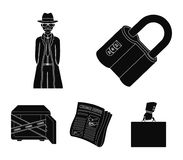 Coded lock, the appearance of the detective, a newspaper with criminal news, a hacked safe. Crime and detective set. Collection icons in black style vector Stock Image