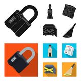 Coded lock, the appearance of the detective, a newspaper with criminal news, a hacked safe. Crime and detective set. Collection icons in black, flat style Royalty Free Stock Photography