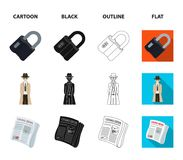 Coded lock, the appearance of the detective, a newspaper with criminal news, a hacked safe. Crime and detective set. Collection icons in cartoon,black,outline Royalty Free Stock Images