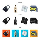Coded lock, the appearance of the detective, a newspaper with criminal news, a hacked safe. Crime and detective set. Collection icons in cartoon,black,flat Royalty Free Stock Photo