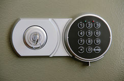 Coded lock on safe. Keyless Entry System - With keyless entry you can open your door with a personal code Stock Images