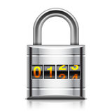 Coded Padlock. Vector illustration of coded padlock on white background Stock Images