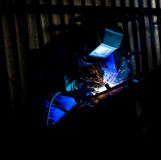 Coded Welder in Blue Royalty Free Stock Photos