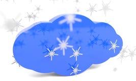 Codeer plastic sneeuwvlokken en wolken, het 3d teruggeven vector illustratie