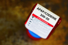 Codeine presctiption bottle. Codeine prescription bottle with warning label. Codeine is a narcotic analgesic (pain reliever stock photography
