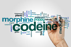 Codeine word cloud concept on grey background Royalty Free Stock Images
