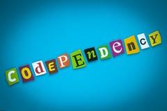 Codependency - слово на голубой предпосылке от красочных писем Абстрактная карта с надписью Текст, заголовок, титр, рубрика иллюстрация штока