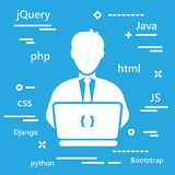 Coder icon with programming languages for web development in tre