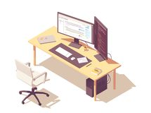 Vector isometric programmer workplace. Coder or programmer office workspace. Vector isometric desk, desktop pc, two computer monitors, laptop, office chair royalty free illustration