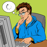 Coder programmer at work comic book style vector Stock Photo
