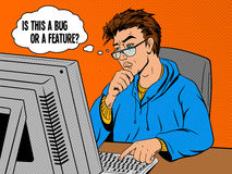 Coder programmer at work comic book style vector Royalty Free Stock Photography