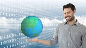 Codes binaires, homme et le monde banque de vidéos