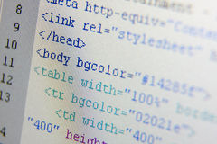 Codes de HTML Images stock