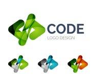 Codez la conception de logo d'icône faite de morceaux de couleur Photos stock