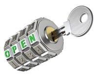 Codez le mécanisme avec la clé Image stock