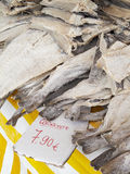 Codfish. Salted dried codfish on a market in Portugal royalty free stock photo
