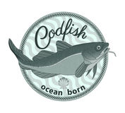 Codfish badge Royalty Free Stock Images