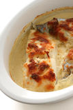 Codfish baked with cheese Stock Images