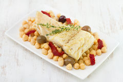 Codfish with chick-pea Royalty Free Stock Image