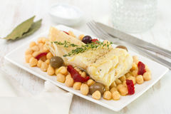 Codfish with chick-pea Stock Image