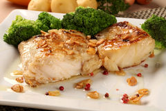 Codfish - fish fillet in sauce with garlic and vegetables Stock Photography