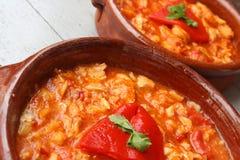 Codfish or migas de bacalao. Basque spanish food called migas de bacalao en salsa Stock Photography