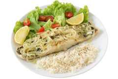 Codfish with onion and rice Stock Image