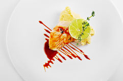 Codfish polędwicowi z teriyaki kumberlandem Odgórny widok Obraz Royalty Free