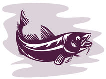 Codfish woodcut style. Vector art on fishes and other marine life Royalty Free Stock Photos