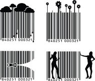Codice a barre in bianco e nero quattro Immagini Stock