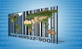 Codice a barre binario del mondo Immagine Stock